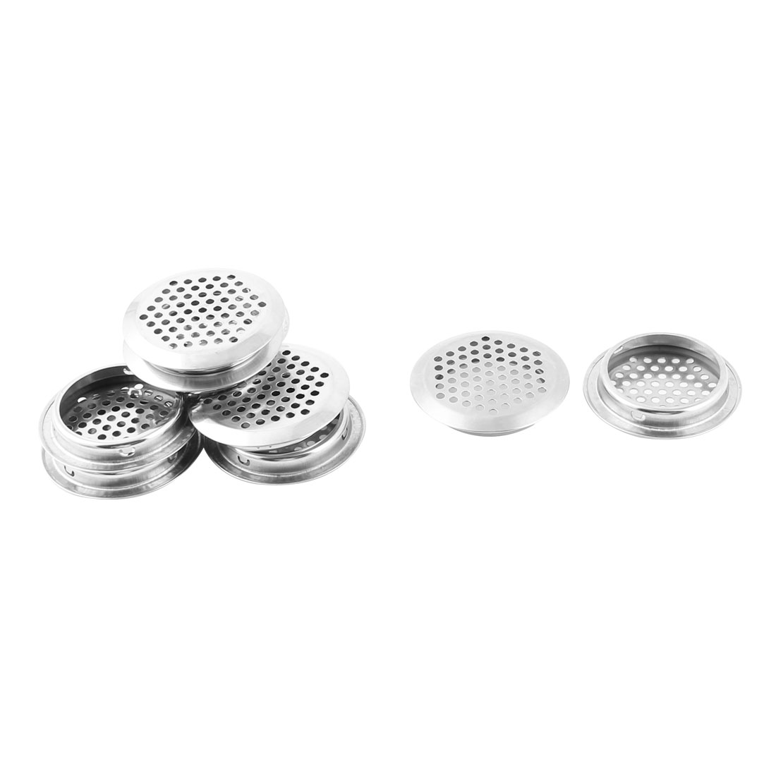Home Barthroom Metal Round Mesh Hole Strainer Air Vent Ventilation Louvers Silver Tone 10pcs