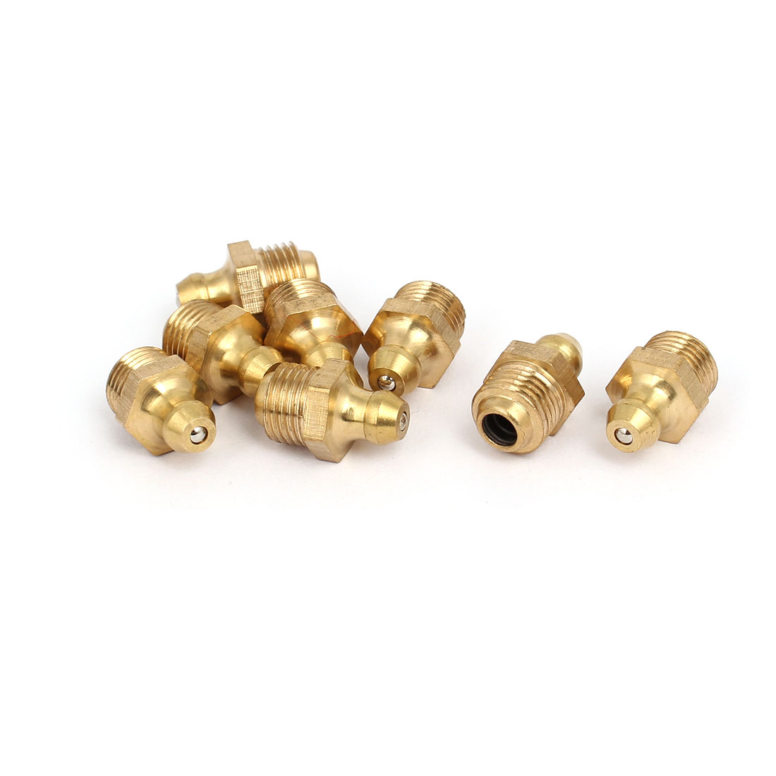 M10 Male Thread 1mm Pitch Straight Brass Grease Nipples Fittings 8 Pcs