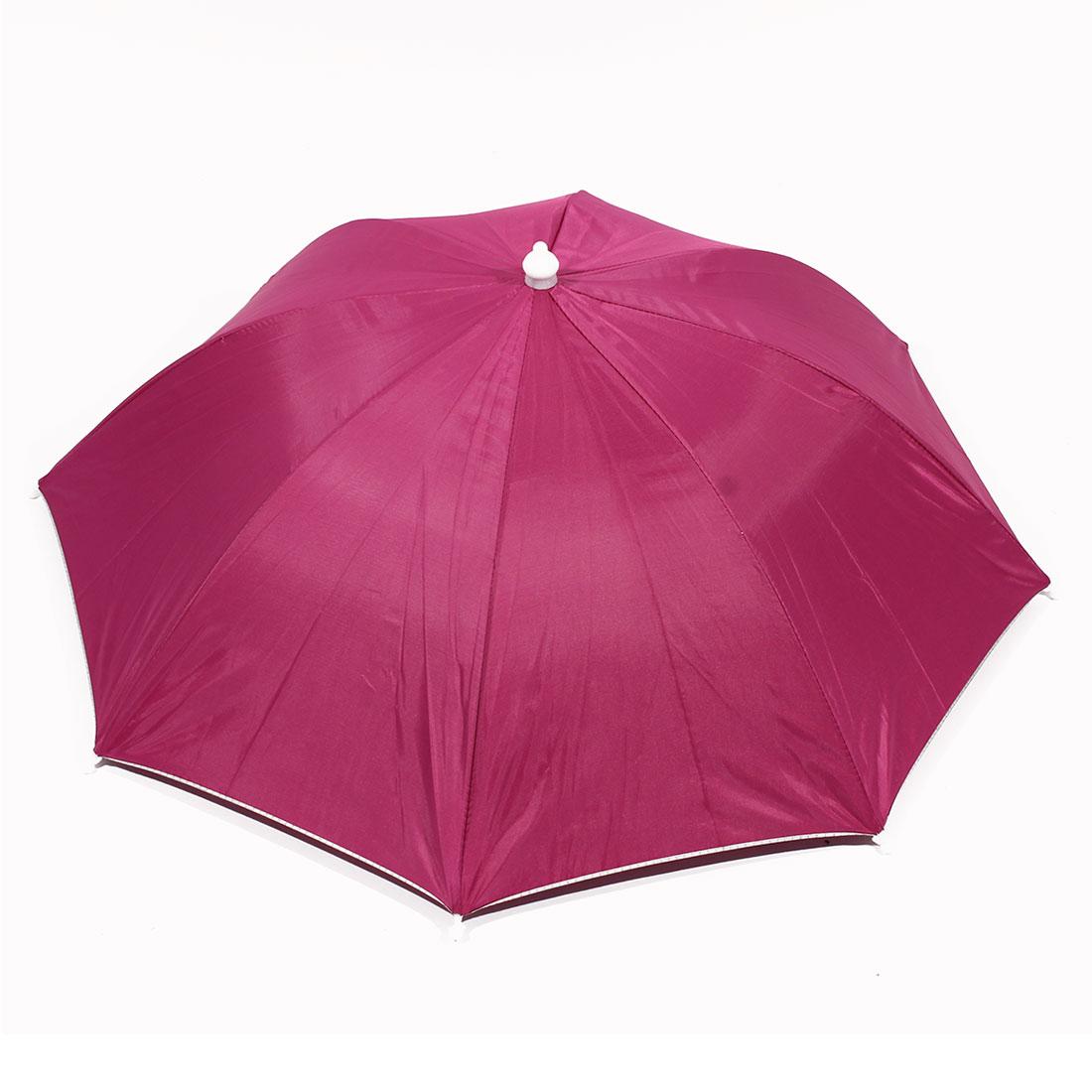 Outdoor Travel Fishing Picnic Headwear Canopy Umbrella Hat Cap Fuchsia