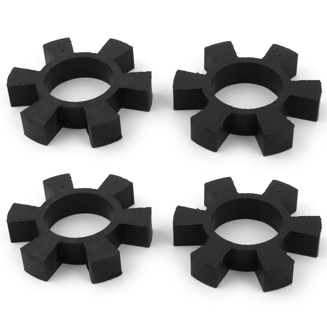 Rubber 6 Petal Coupling Buffer Drive Shaft Center Spider Coupler Damper Black 9.3cm Dia 4pcs