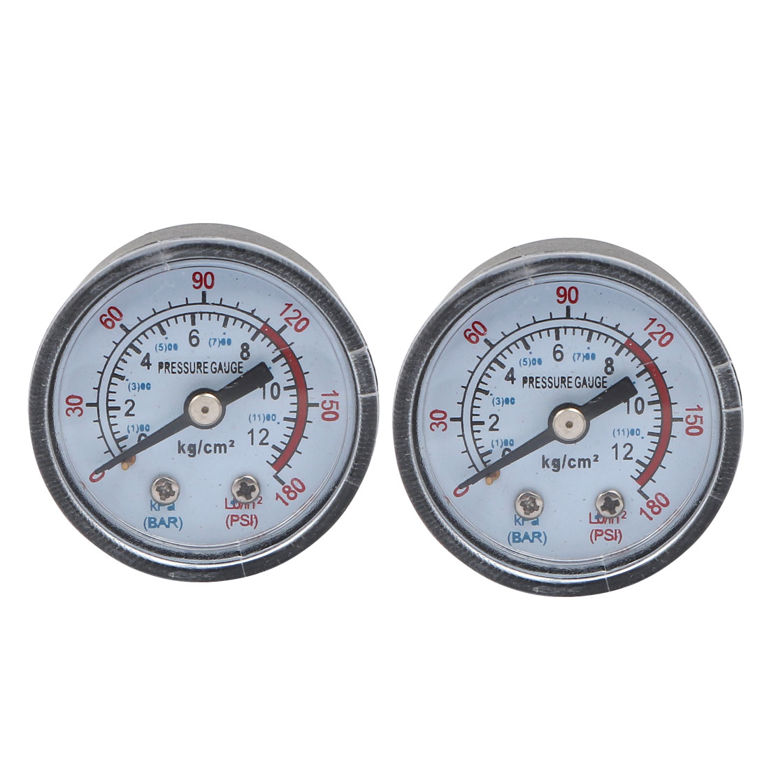 2pcs Horizontal Mount 1/8PT Thread Water Air Pressure Gauge 0-12kg/cm2 0-180psi