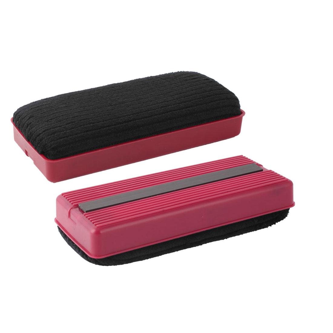 School Teaching Office Plastic Shell Magnetic Blackboard Eraser Red Black 2 Pcs
