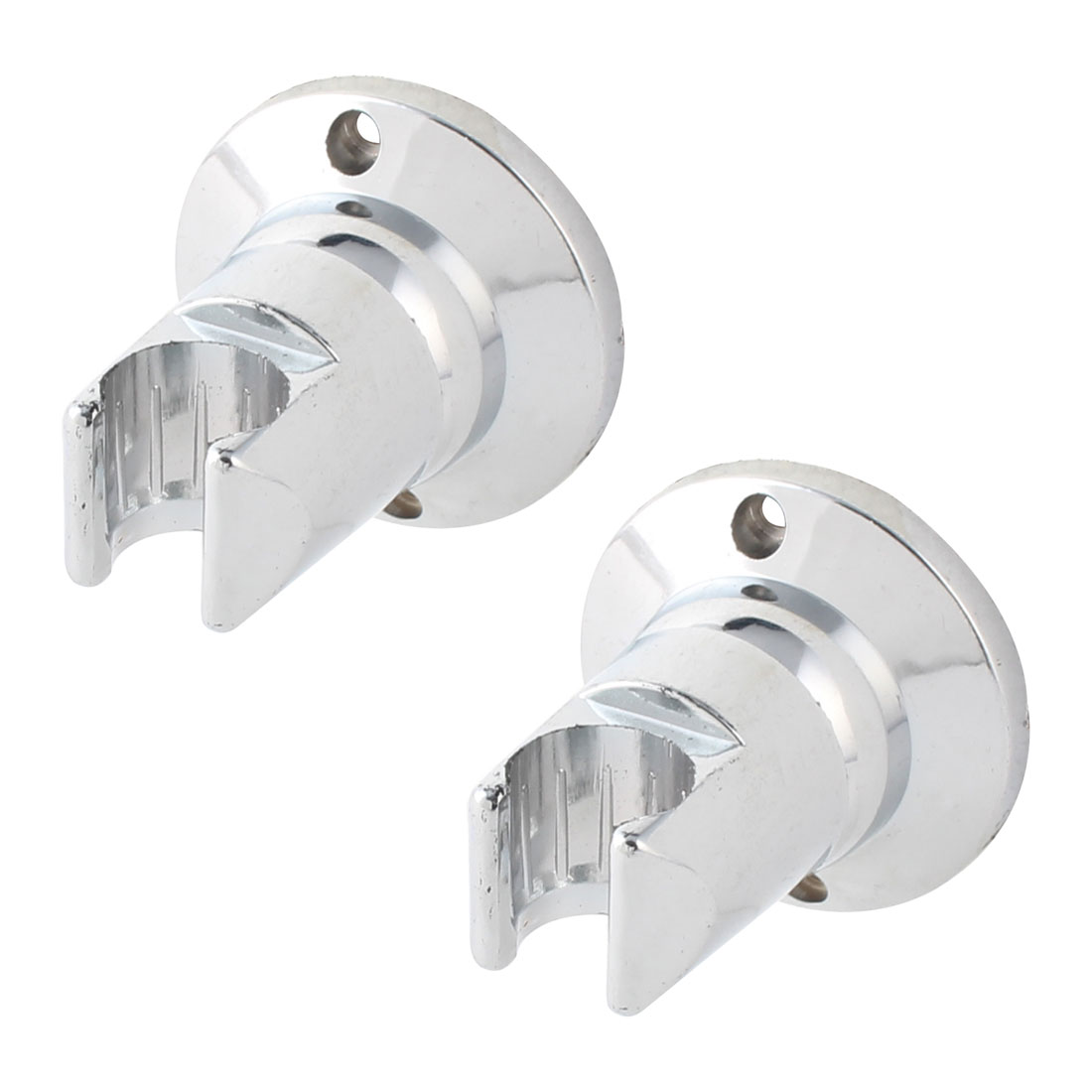 Household Bathroom Plastic Wall Mount Shower Head Holder Bracket Hanger Silver Tone 2 Pcs