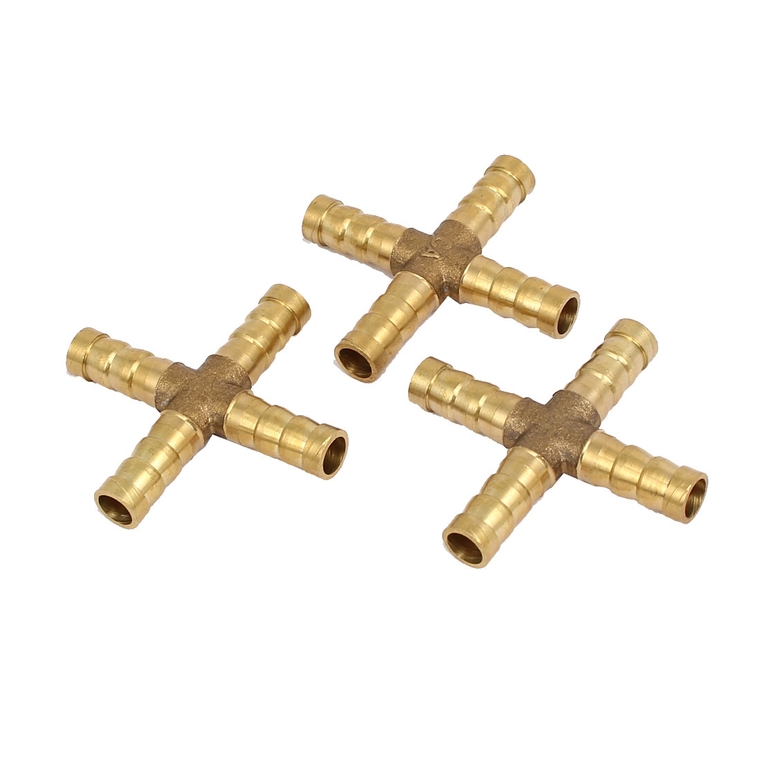 8mm Dia Cross Shaped Hose Barb Air Fuel Pipe Connectors Joint Fittings 3pcs