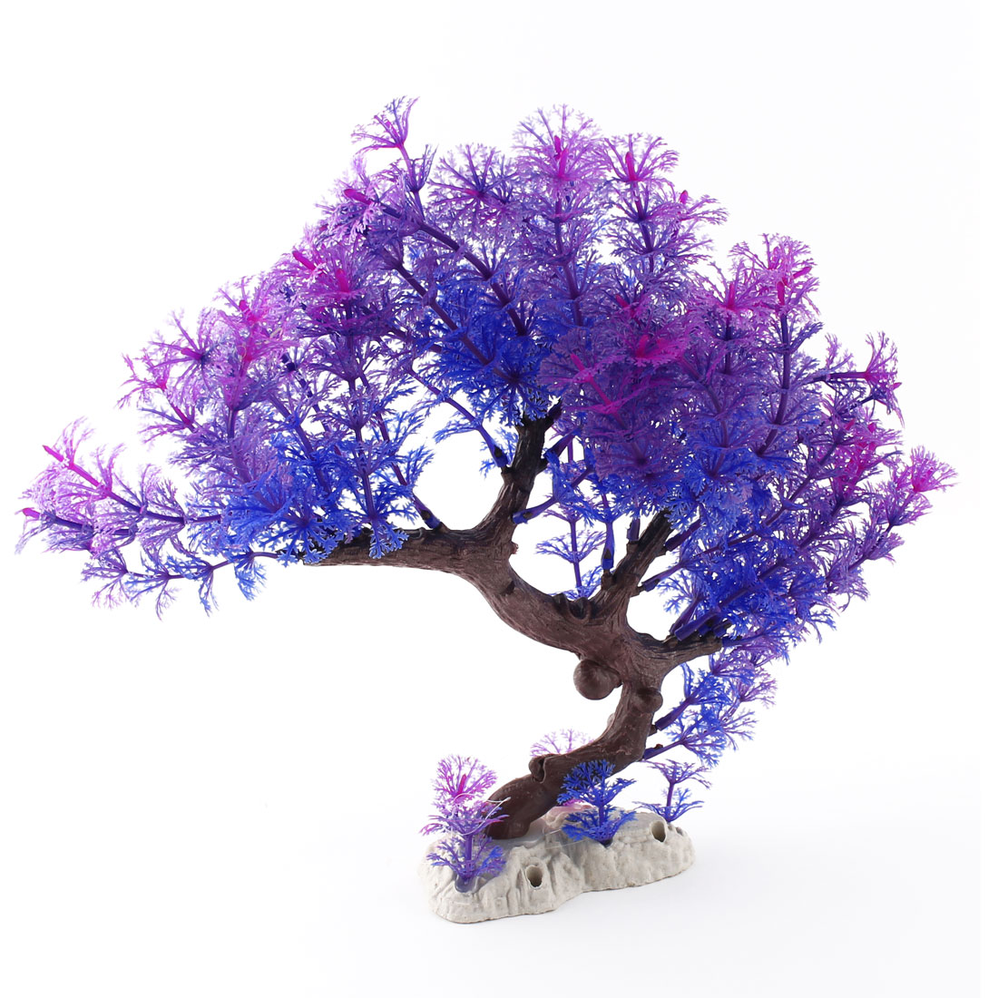 Aquarium Fish Tank Plastic Artificial Underwater Water Tree Plant Ornament Purple Blue