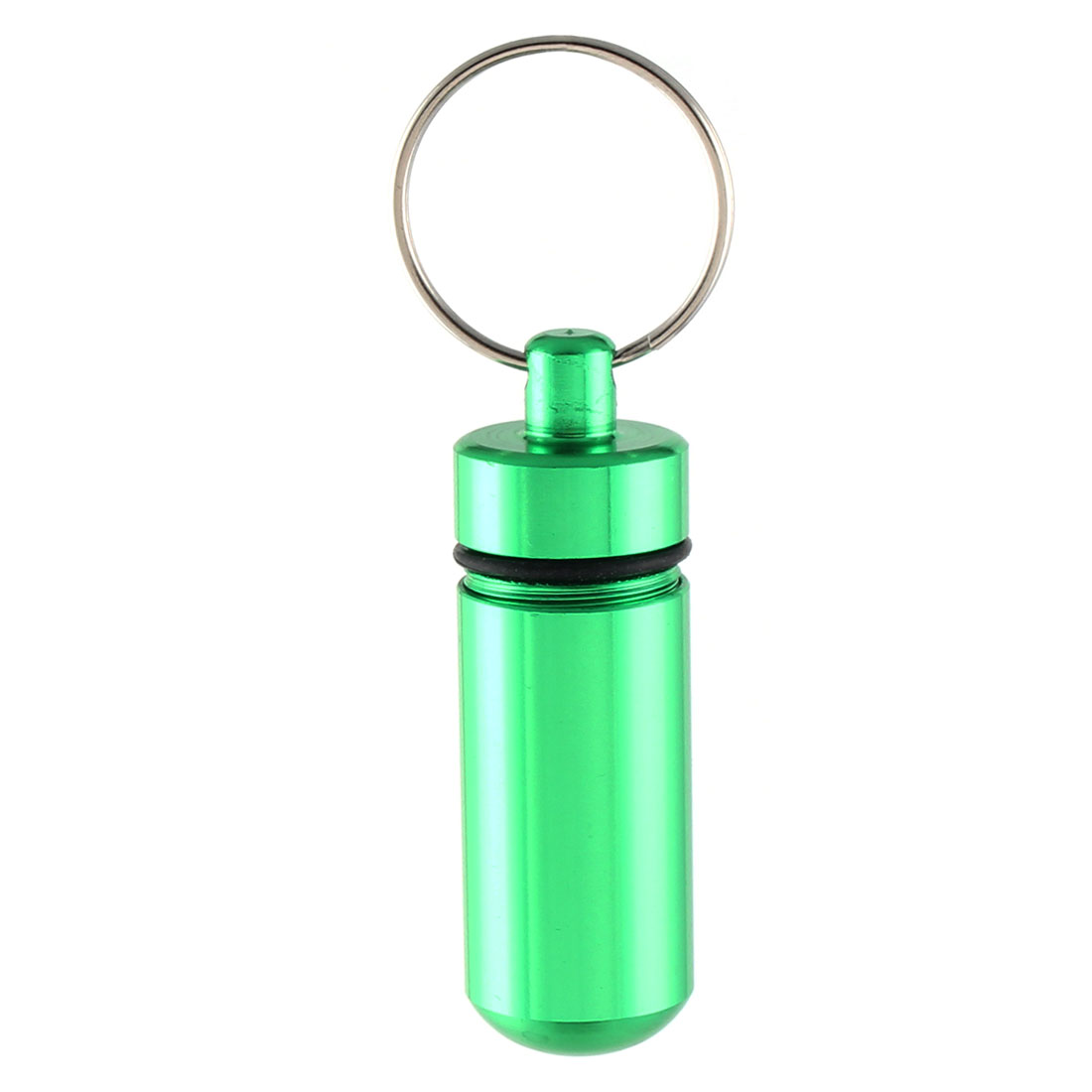 Green Metal Bottle Shaped Pendant Split Ring Keyring Handbag Purse Decoration