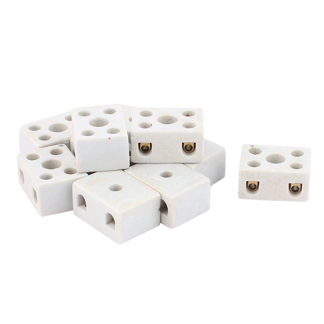 5A 2W5H 2 Way 5 Hole Ceramic Connector Porcelain Terminal Block 10pcs