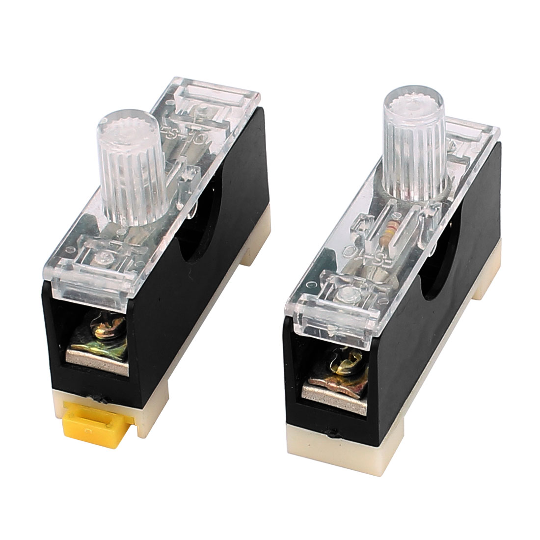 2Pcs AC 250V 10A FS-10 DIN Rail 6 x 30mm Hard Plastic Fuse Holder Base