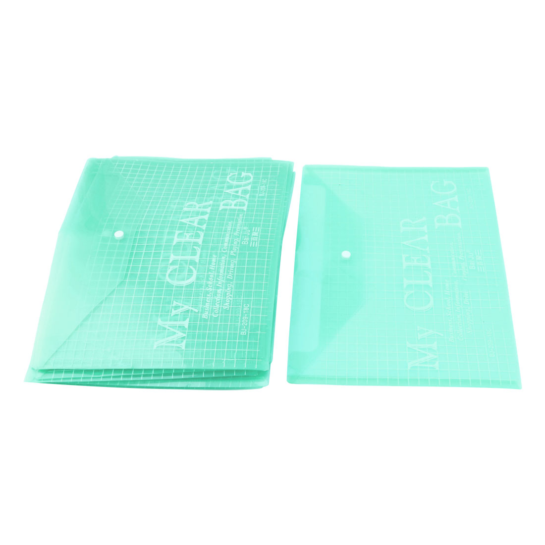 Office Plastic Button Closure A4 Paper File Bag Document Holder Organizer Green 0.1cm Thickness 20pcs