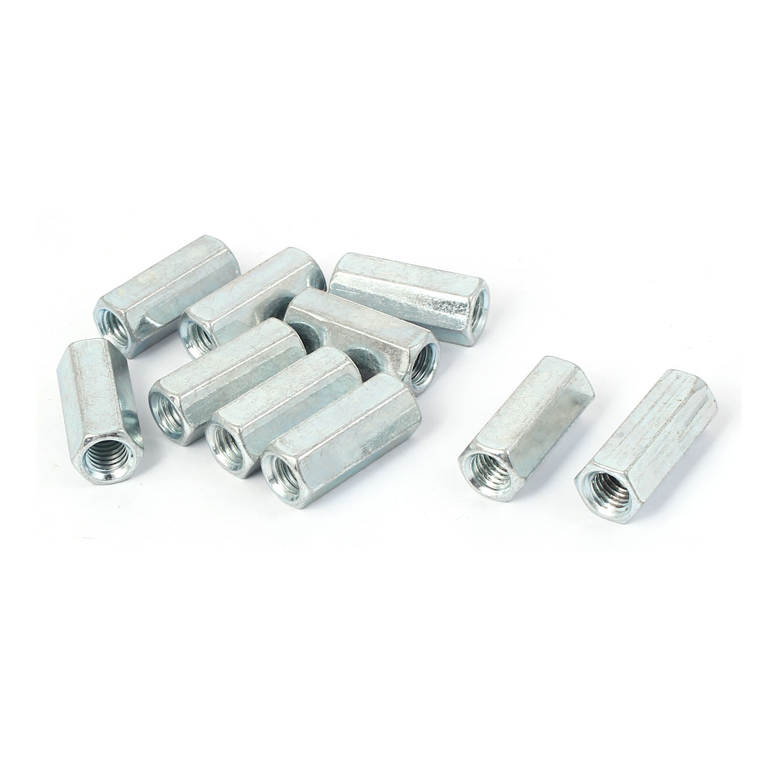M8 Female Thread Straight Fitting Hex Rod Coupling Nuts Silver Tone 10 Pcs