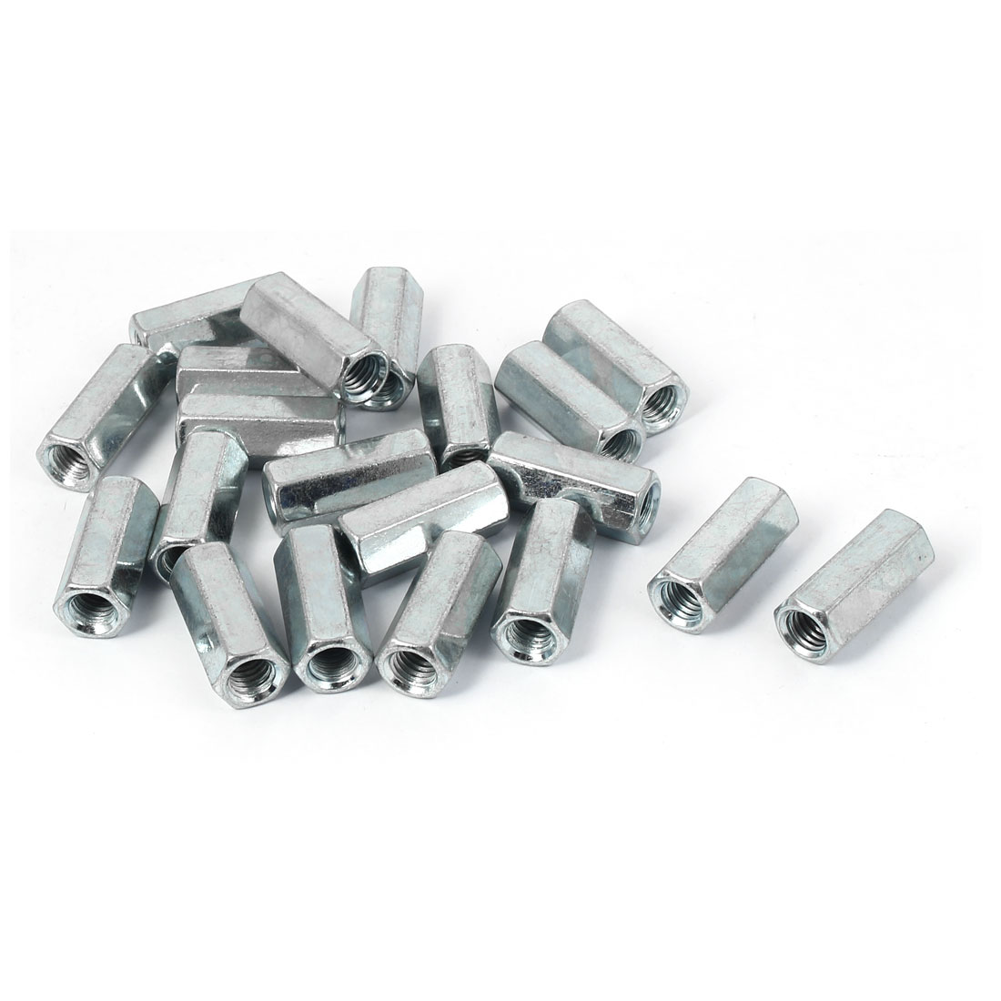 M8 x 13.4mm x 30mm Metal Hex Rod Coupling Connector Nuts Silver Tone 20 Pcs