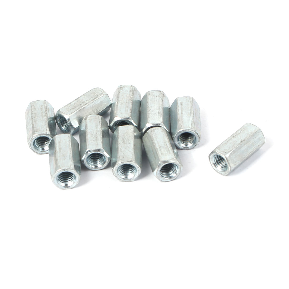 M6 Female Thread Straight Hex Rod Coupling Connector Nuts 10 Pcs