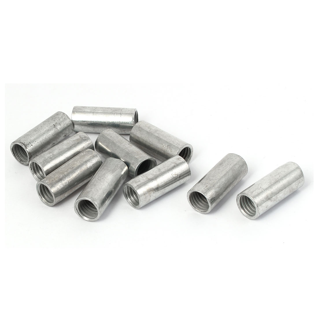 M12 x 14mm x 35mm Round Threaded Rod Coupling Connector Nuts Silver Tone 10 Pcs