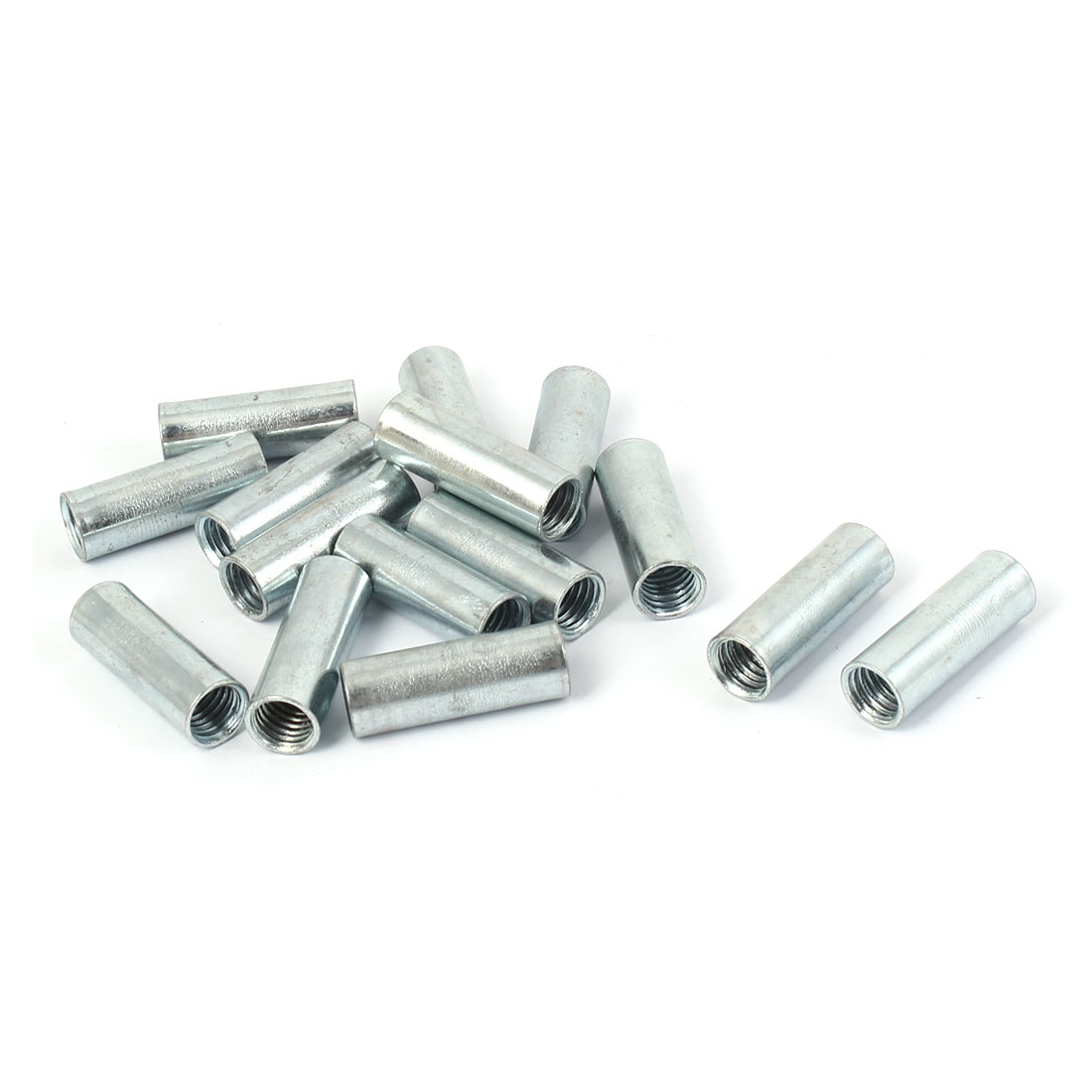 M10 Threaded Rod Bar Stud Round Coupling Connector Nuts Silver Tone 15 Pcs