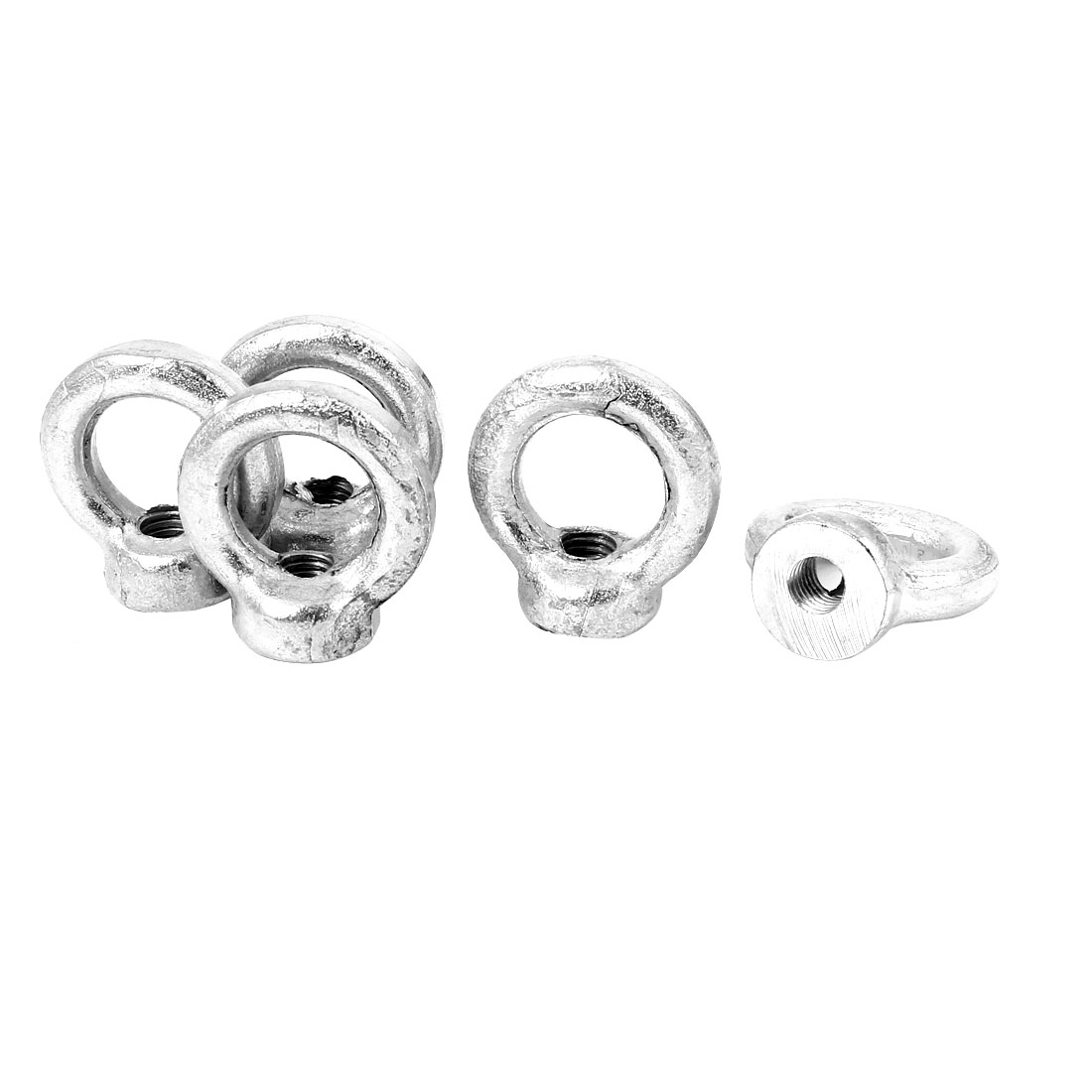 M8 Female Thread Carbon Steel Lifting Eye Nuts Ring Silver Tone 5 Pcs