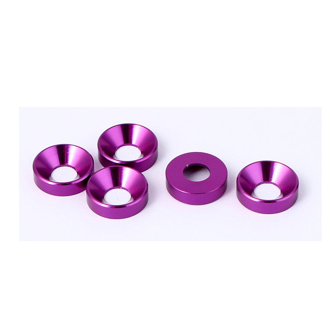 M5 Flat Head Screw Bolt Aluminum Countersunk Washers Purple 5 Pcs