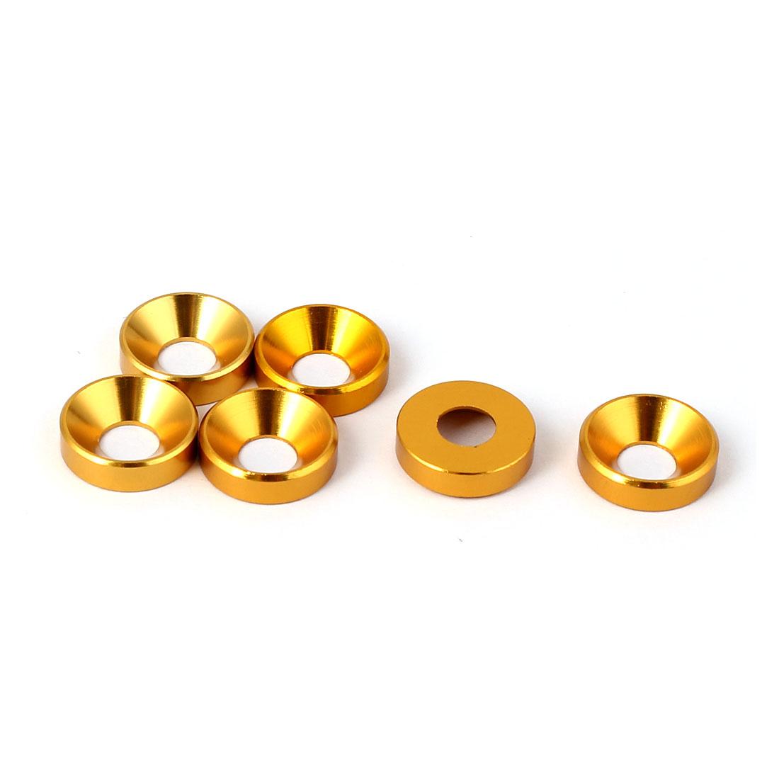 M5 Flat Head Screw Bolt Aluminum Countersunk Washers Gold Tone 6 Pcs