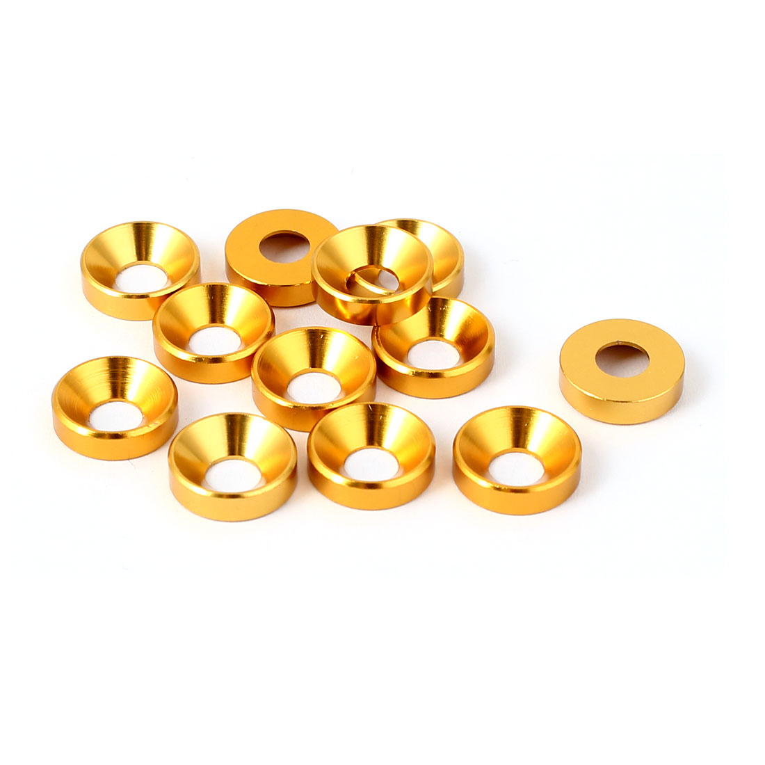 M5 Flat Head Screw Bolt Aluminum Countersunk Washers Gold Tone 12 Pcs