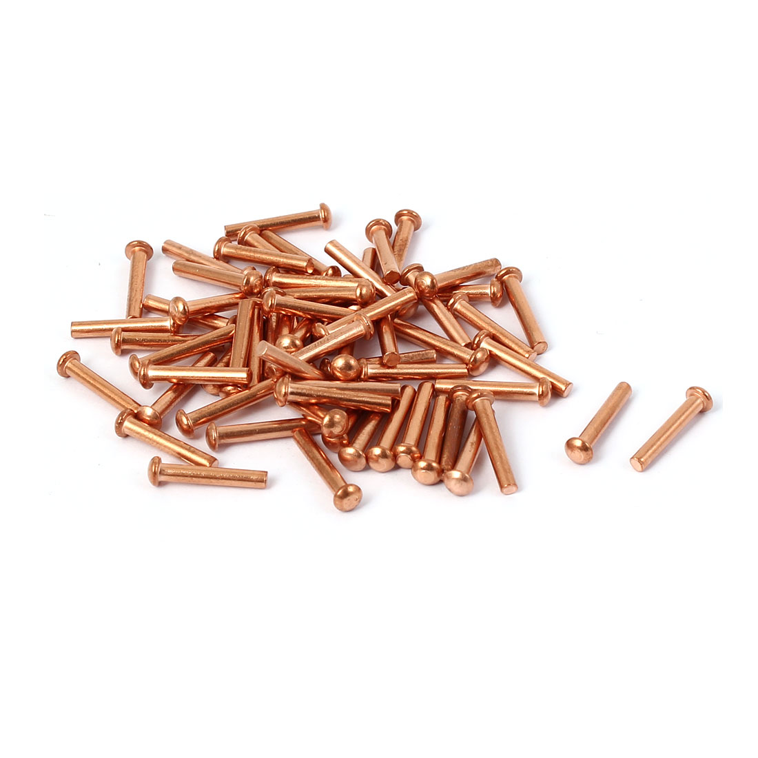 2mm x 12mm Round Head Copper Solid Rivets Fasteners Gold Tone 13mm Length 40 Pcs