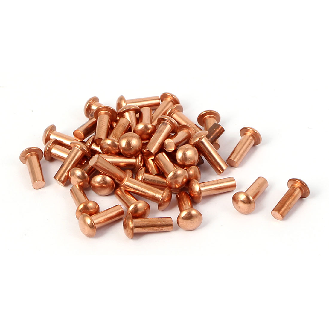 3mm x 8mm Round Shaft Copper Solid Rivets Fasteners Hardware Gold Tone 40 Pcs