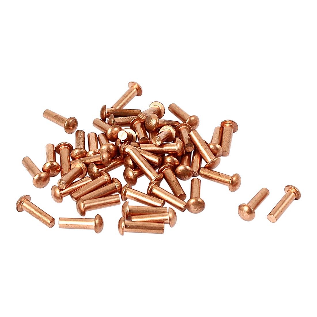 3mm x 10mm Shaft Flat Head Bolts Copper Solid Rivets Fasteners Gold Tone 50 Pcs