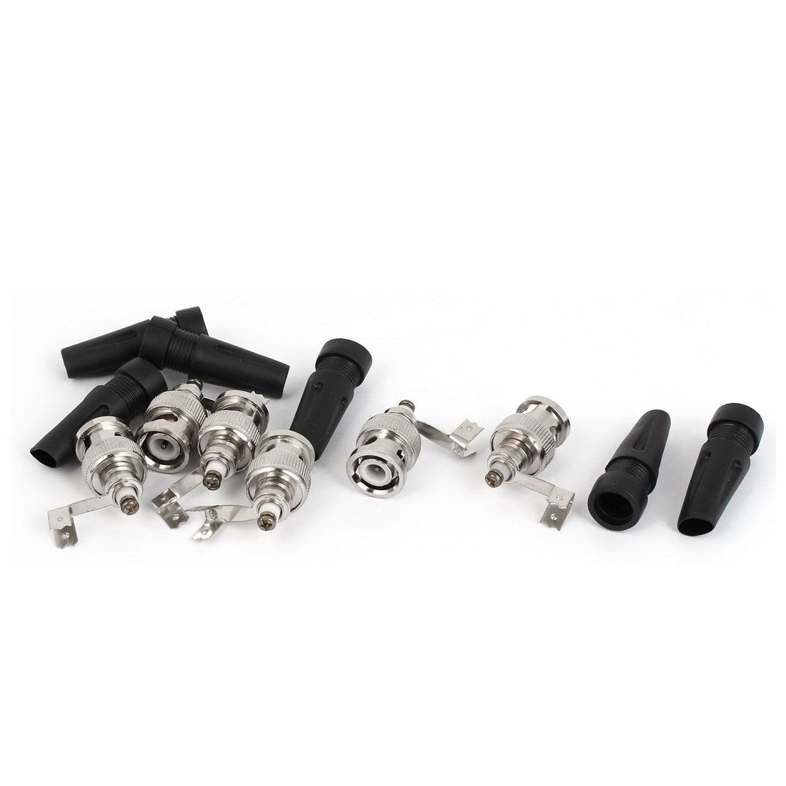 Black Sleeve Video RF Coax Coaxial BNC Male Cable Connectors Coupler 6 Pcs