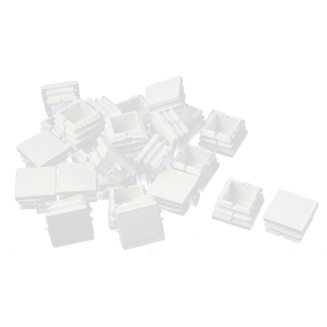 Home Flat Base Protect Square Tube Pipe Inserts Caps White 25mm x 25mm 25 Pcs