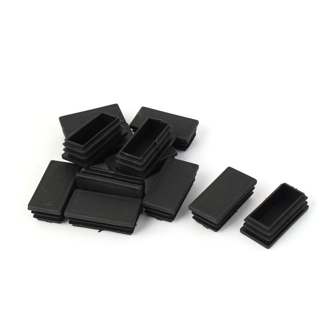 50mm x 25mm Plastic Square Table Chair Leg Feet Tube Pipe Insert Cap Black 12pcs