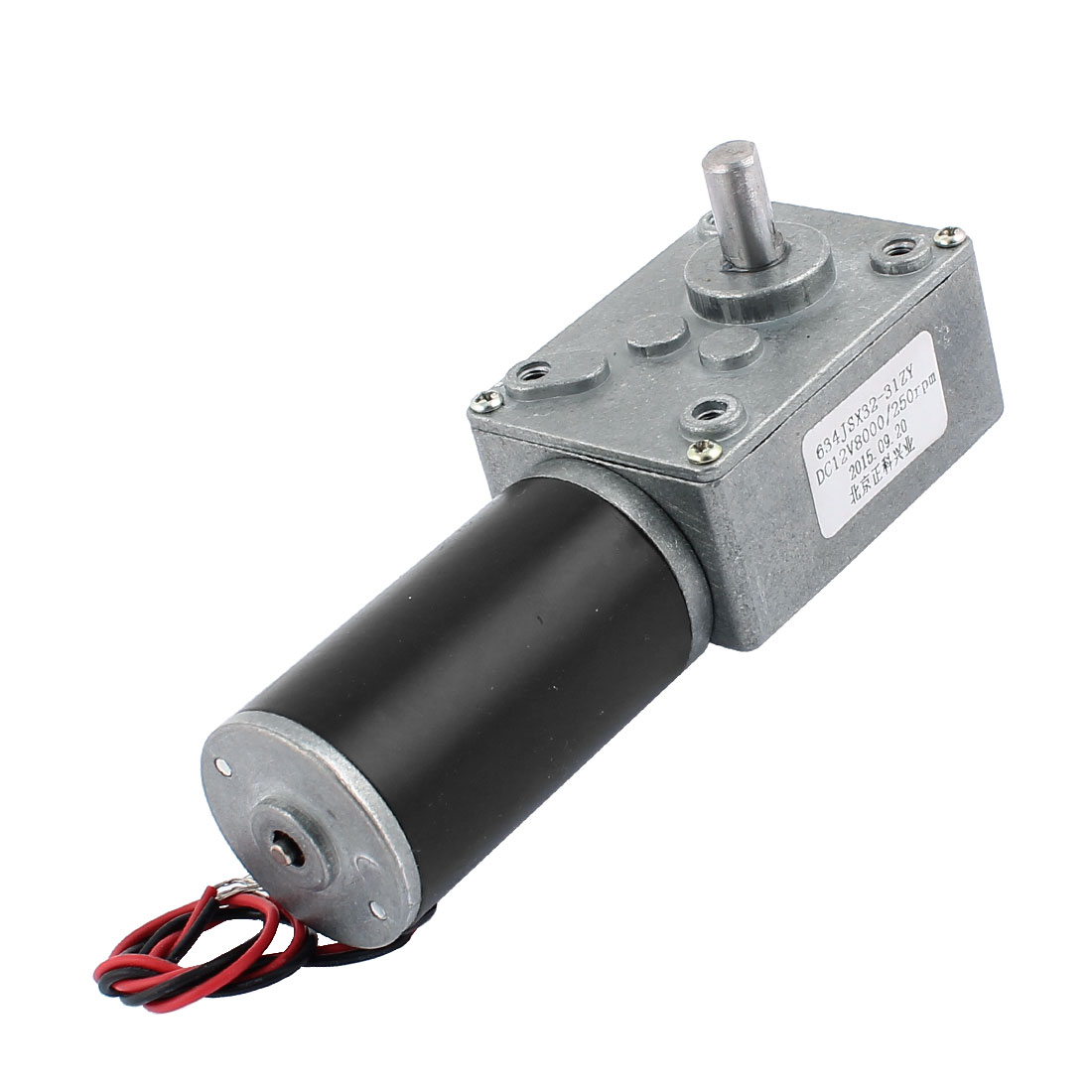 DC 12V 250RPM 8mmx14mm D-Shape Shaft Electric Power Turbo Worm Geared Motor