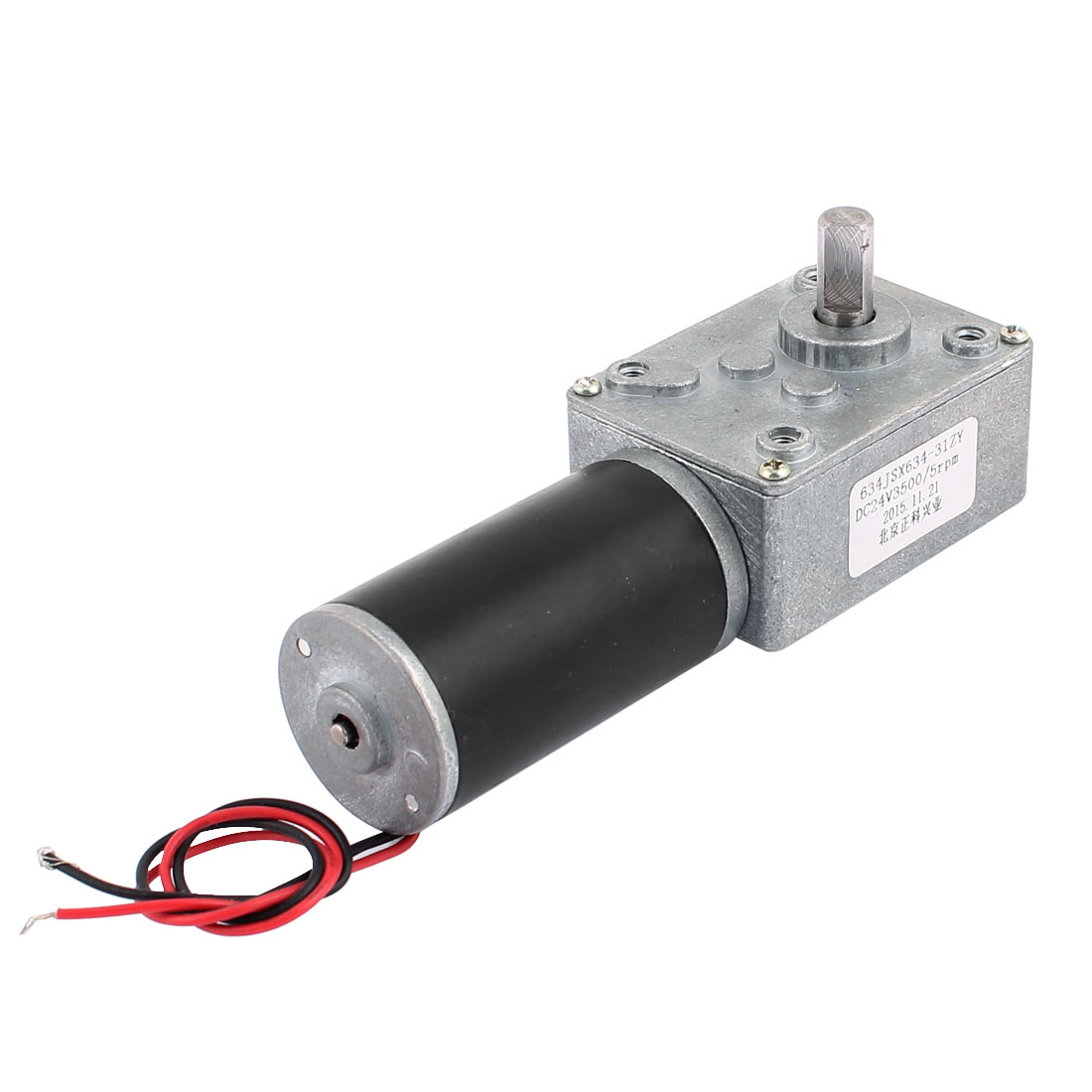 DC 24V 5RPM 8mmx14mm D-Shape Shaft Electric Power Turbo Worm Geared Motor