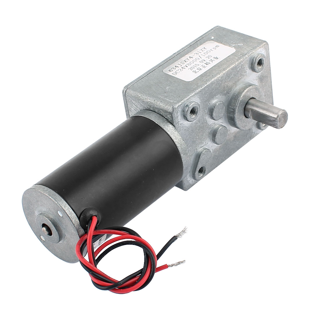 DC 24V 100RPM 8mmx15mm Dual D-Shape Shaft Electric Power Turbo Worm Geared Motor