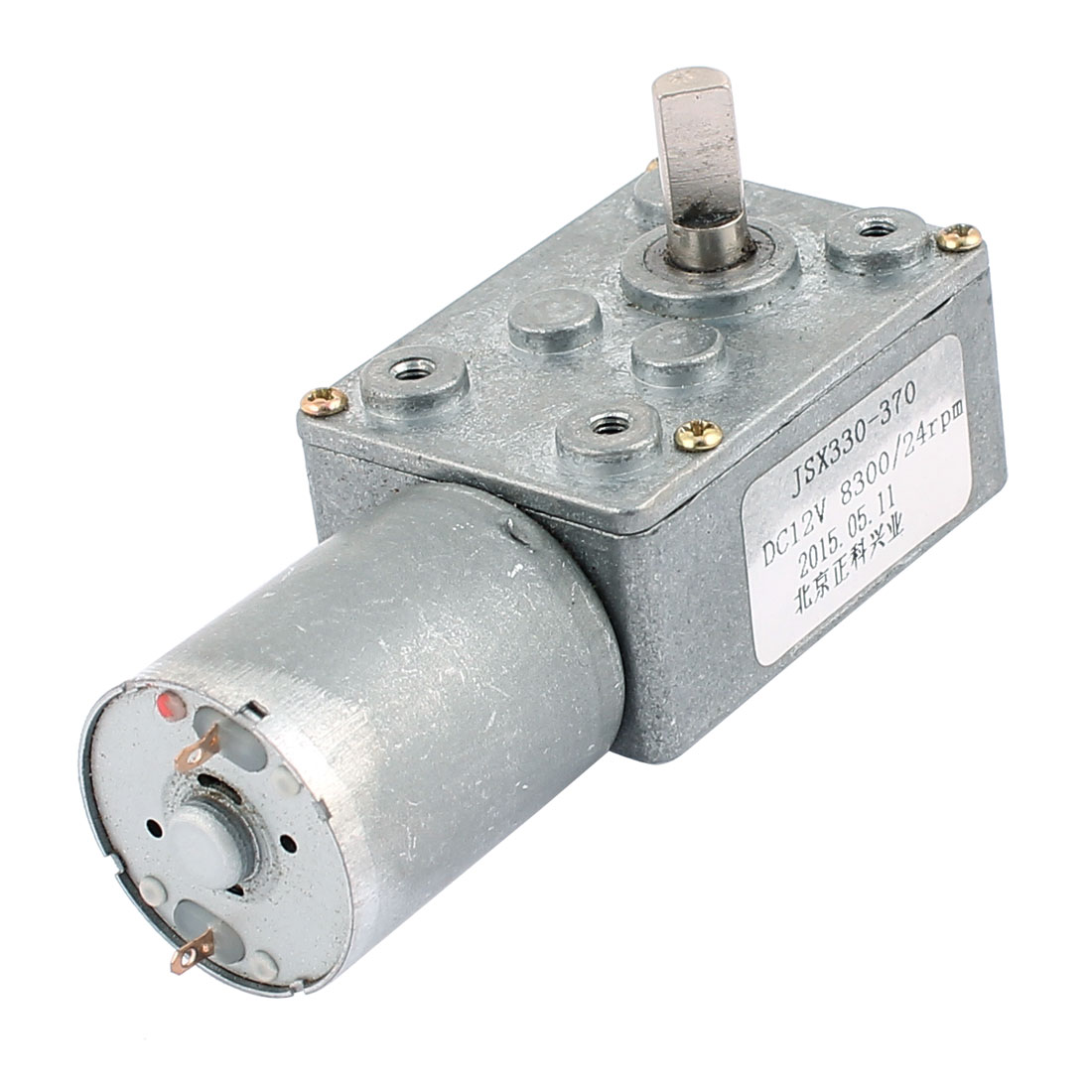 DC 12V 24RPM 6mmx13mm D-Shape Shaft Electric Power Turbo Worm Geared Motor