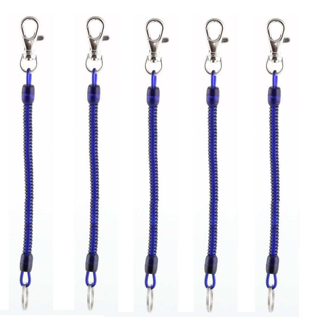 Unisex Plastic Elastic Portable Spring Coil Keychain Dark Blue Silver Tone 5pcs