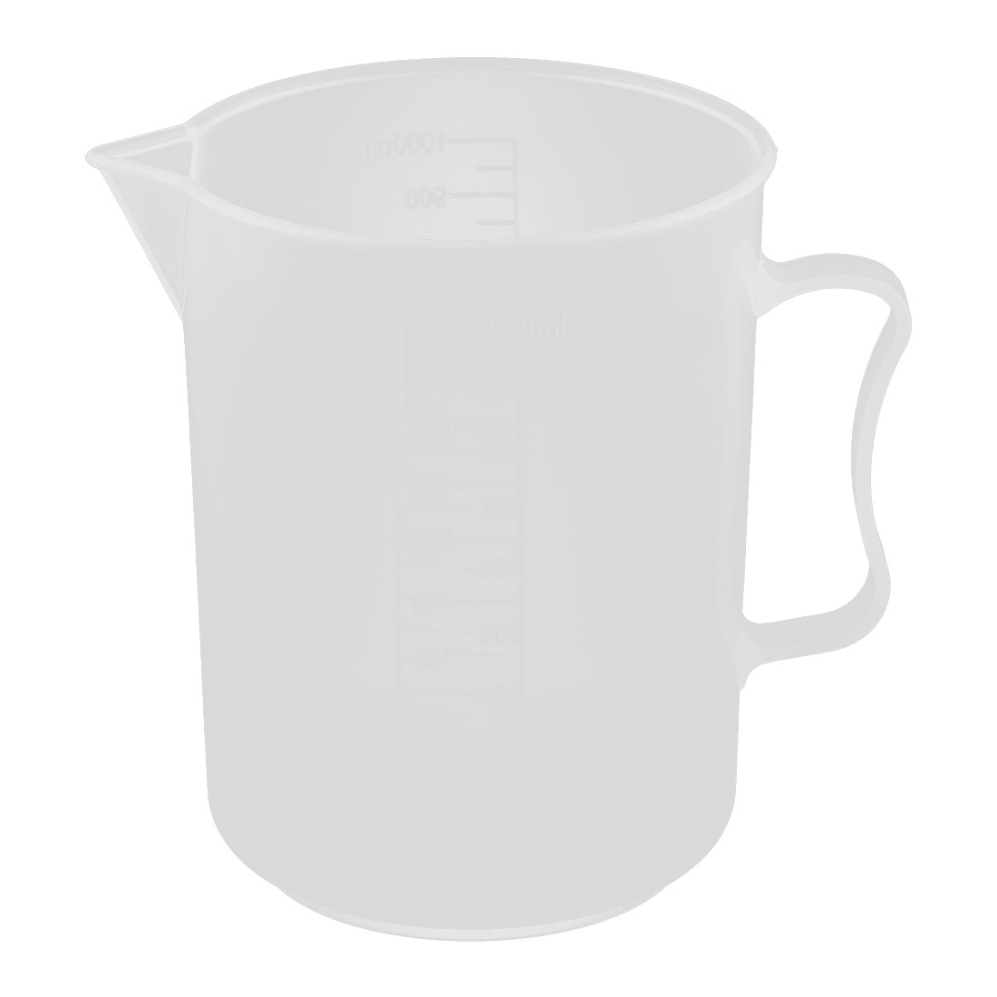 Laboratory Plastic Water Liquid Graduated Measuring Cup Clear White 1000ml