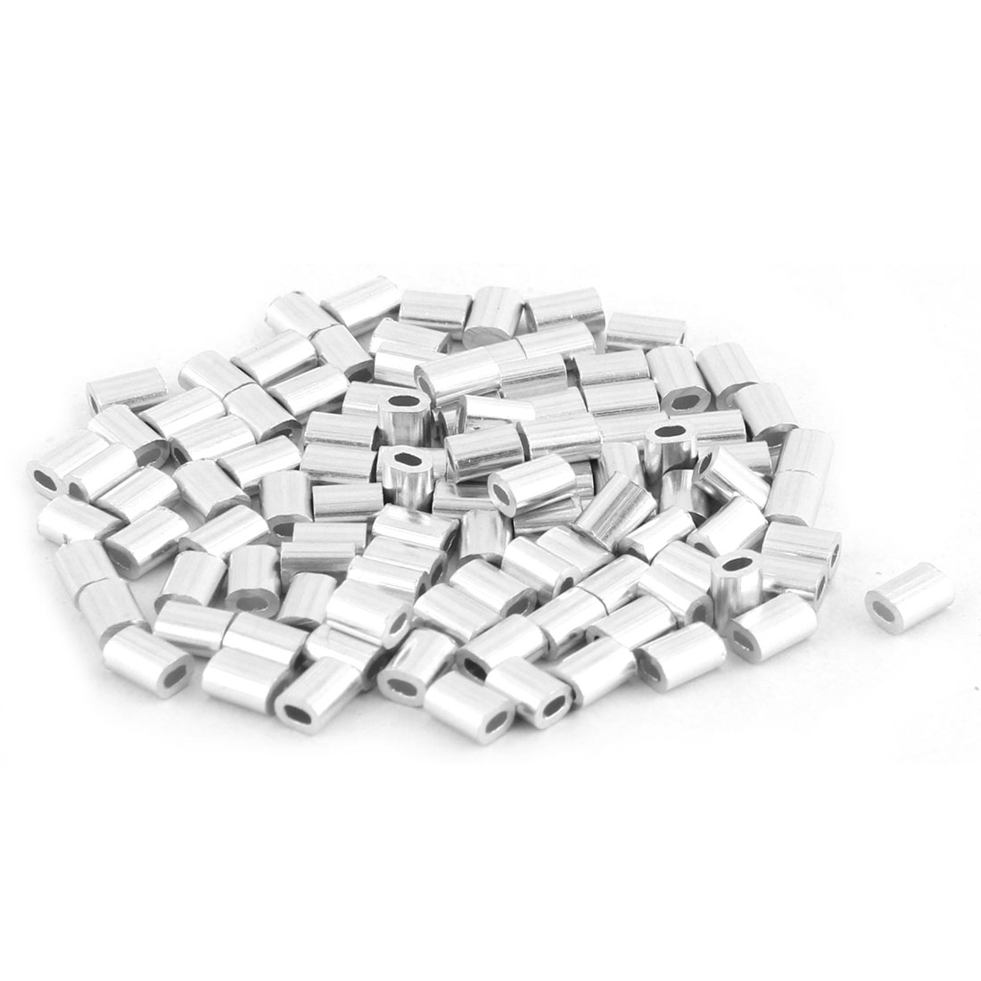 0.02 Inch Oval Ferrules Single Hole Wire Rope Aluminum Sleeves 4mm x 2mm Silver Tone 100pcs