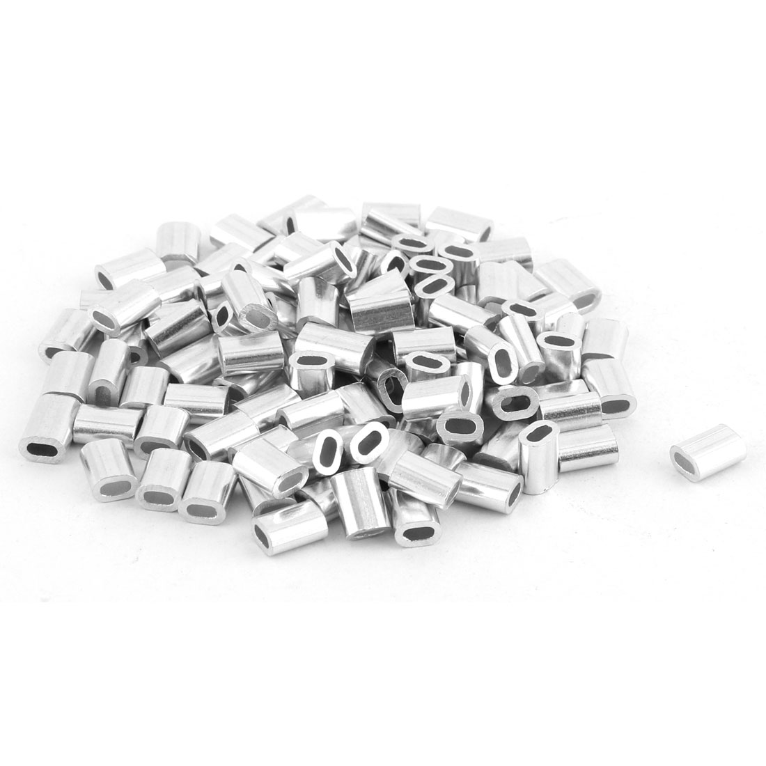 1.2mm Steel Wire Rope Oval Aluminum Ferrules Sleeves 5mm x 3mm Silver Tone 100pcs