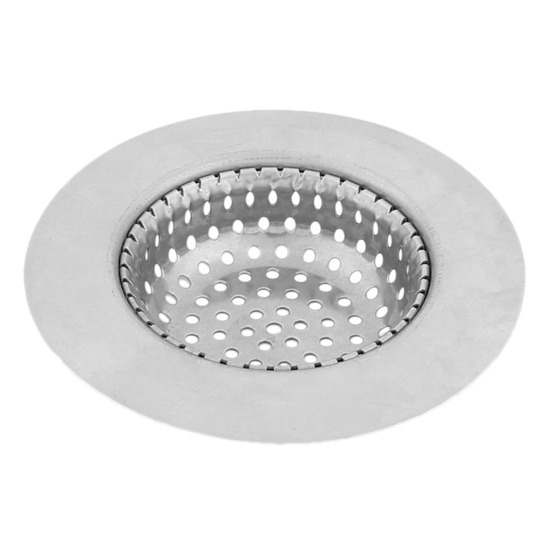 Home Washroom Kitchen Metal Basket Drain Sink Strainer Scraps Stopper Silver Tone