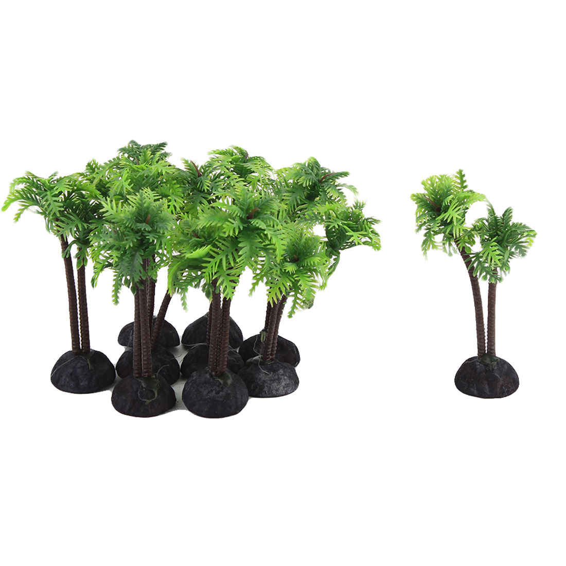 Garden Pond Aquarium Fish Tank Coconut Palm Decor Handmade Plant Green 10pcs
