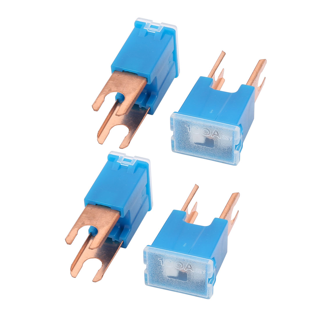 4Pcs Blue 100A 32V Male PAL Link Pacific Type Mini Slow Blow Fuse for Car Auto