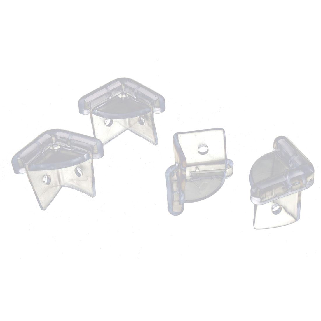 Home Plastic Table Desk Worktop Corner Cover Cap Bumper Cushion 4pcs
