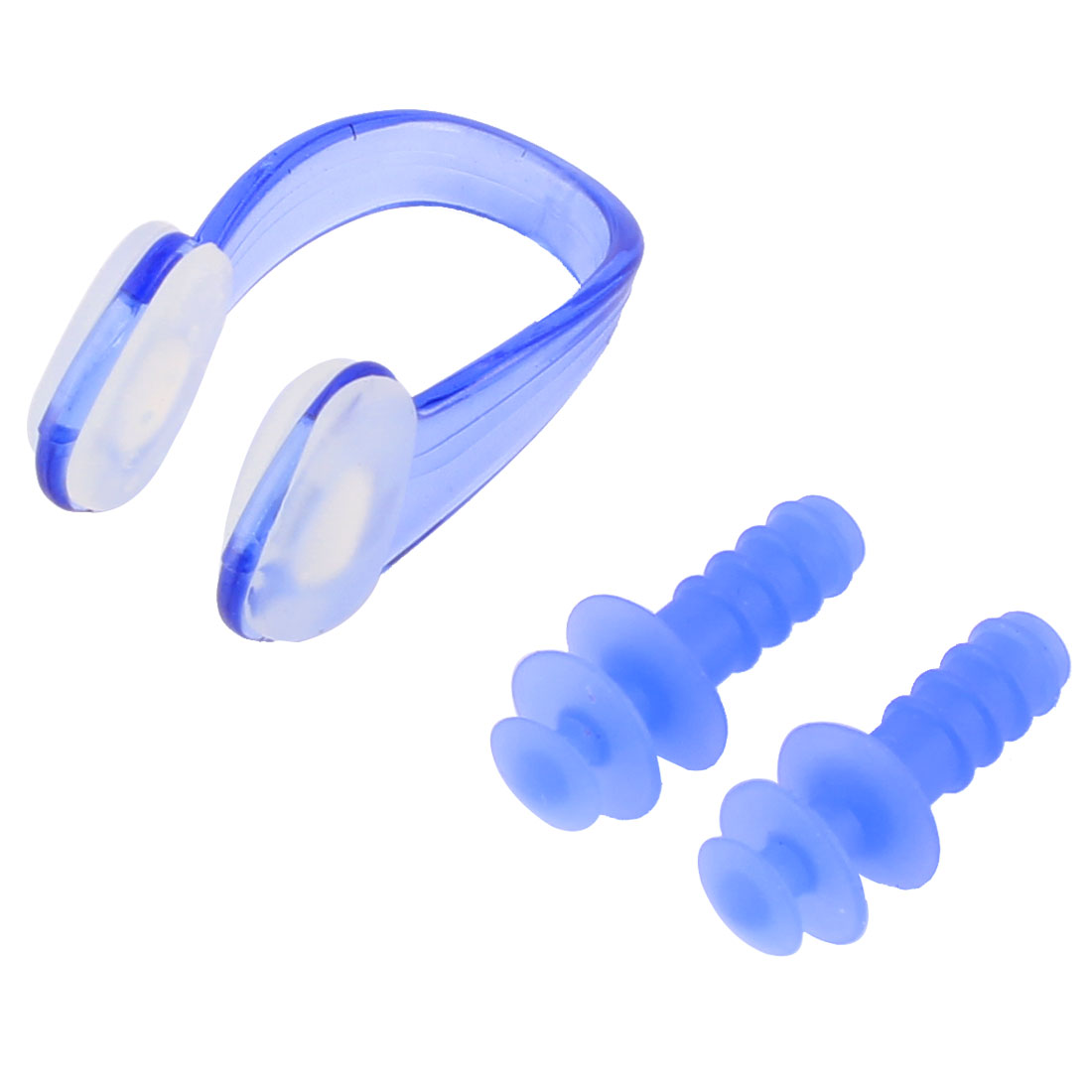 Adults Silicone Swimming Earplugs Nose Clip Blue 3 in 1