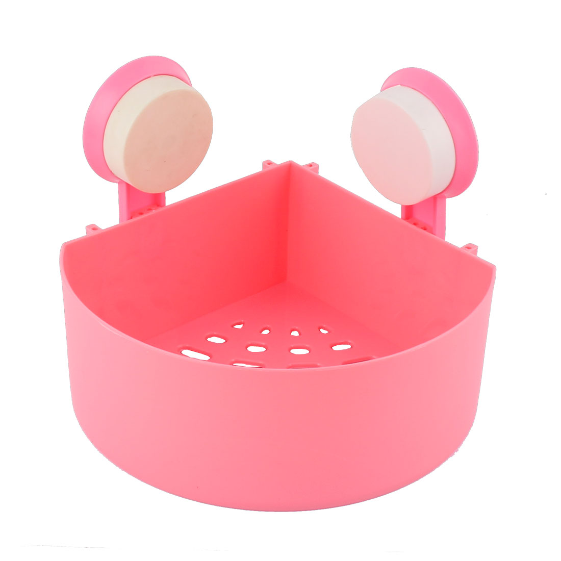 Bathroom Wall Corner Suction Cup Triangle Storage Shelf Rack Holder Pink