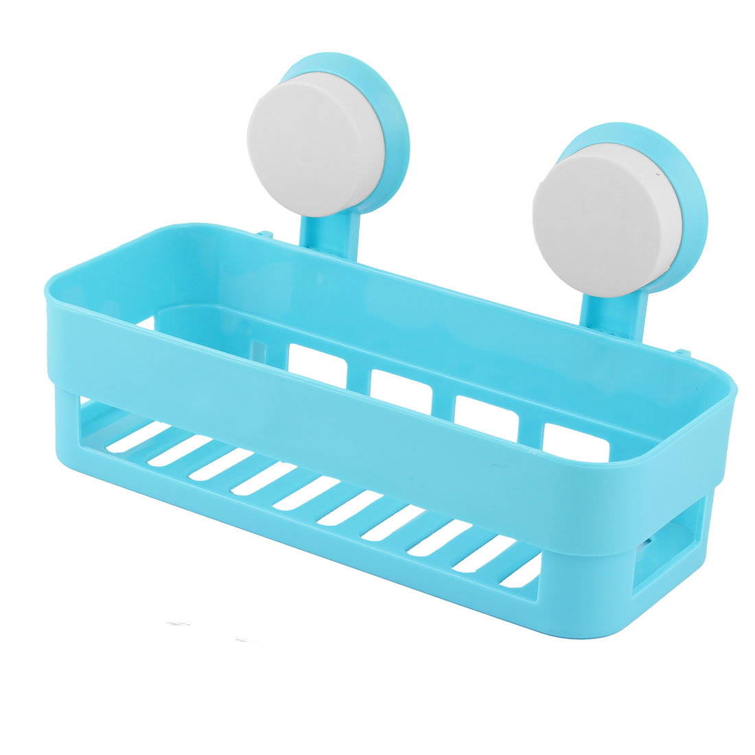 Bathroom Kitchen Plastic Suction Cup Toiletry Shelf Storage Rack Holder Blue
