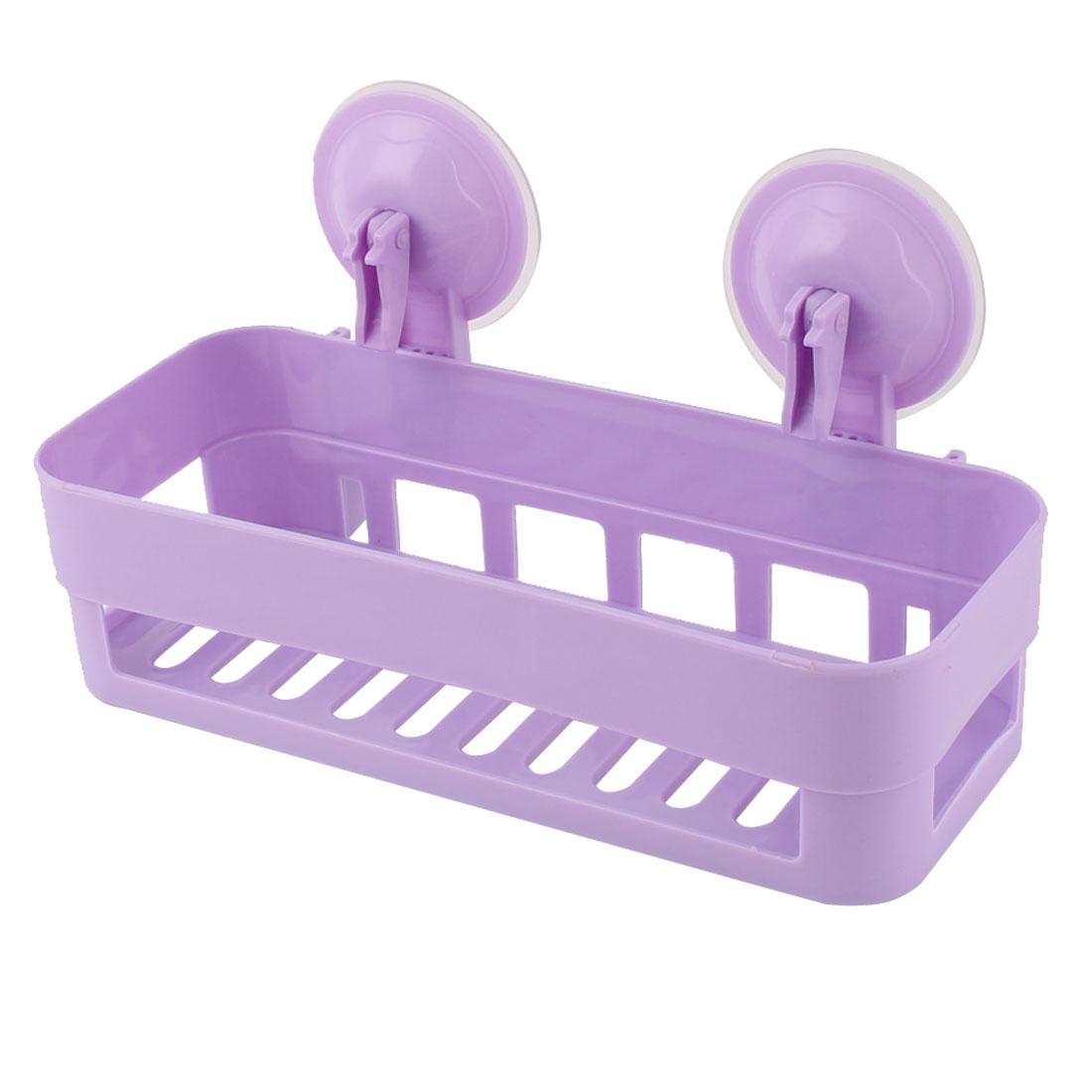 Bathroom Kitchen Plastic Suction Cup Toiletry Shelf Storage Rack Holder Purple