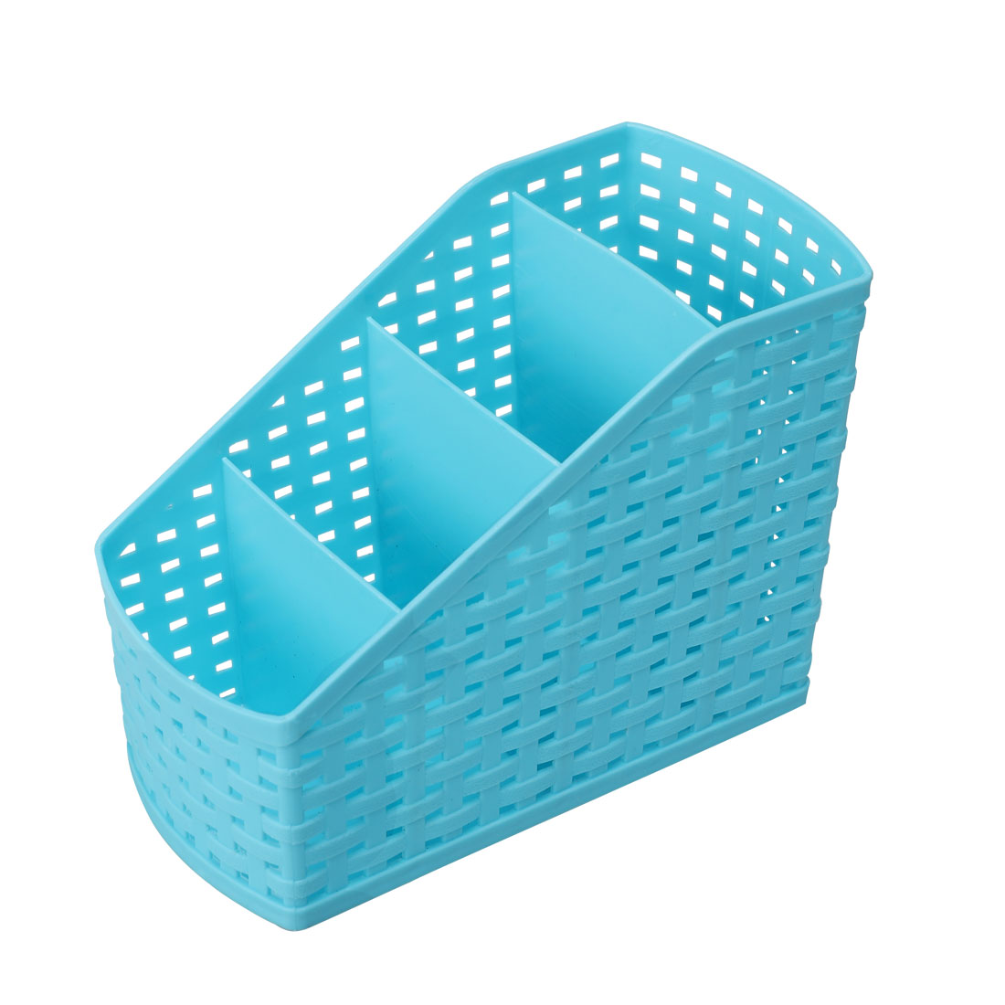 Home Office Plastic Desktop Table Sundries 4 Slots Storage Drawer Divider Box Blue