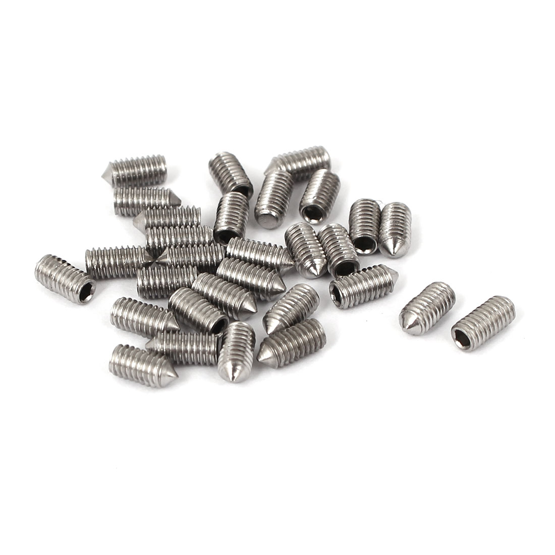 3mmx6mm 304 Stainless Steel Hex Socket Pointed End Grub Screws 30pcs