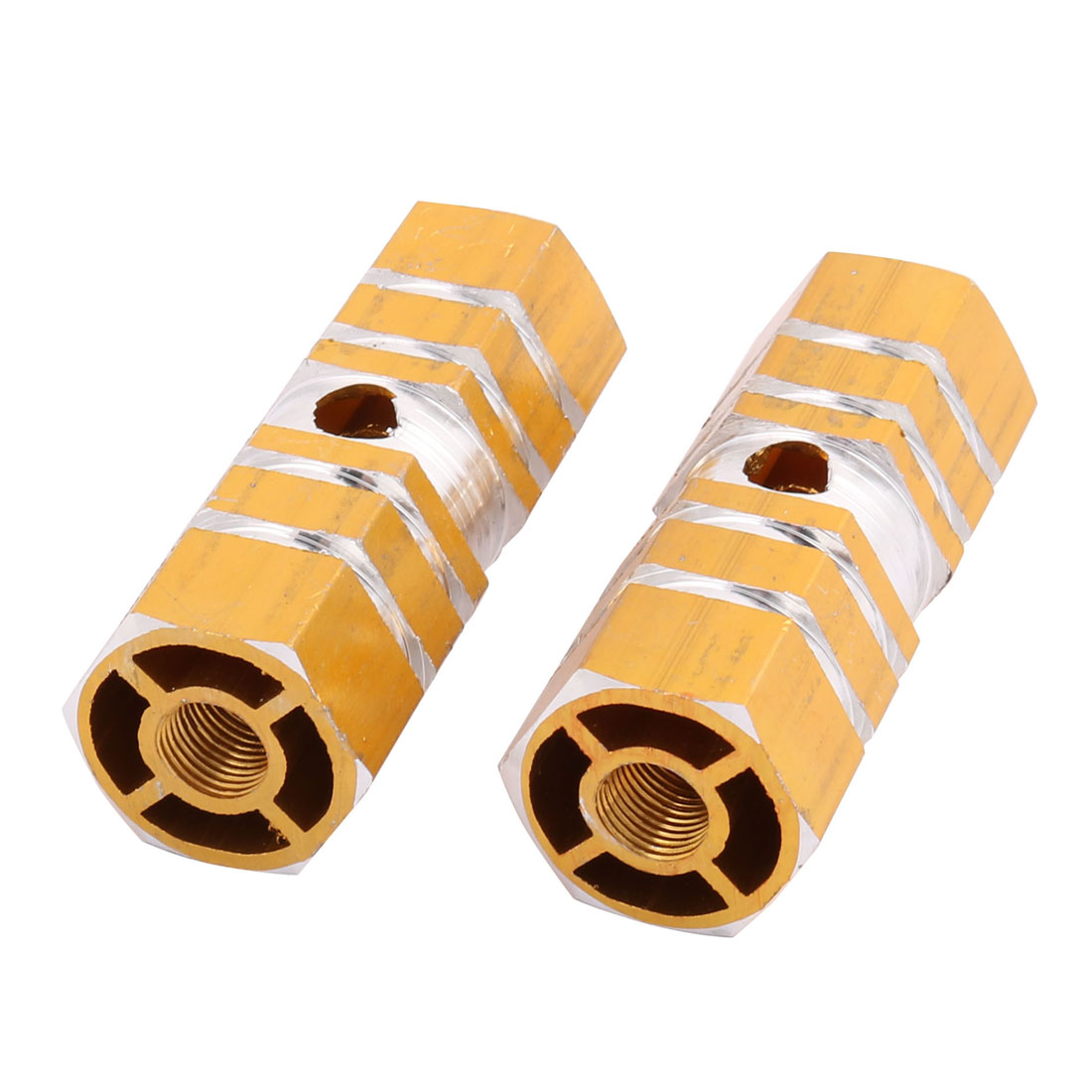 Pair 9mm Dia Female Thread Aluminum Alloy Foot Pegs Gold for Bicycle Cycling