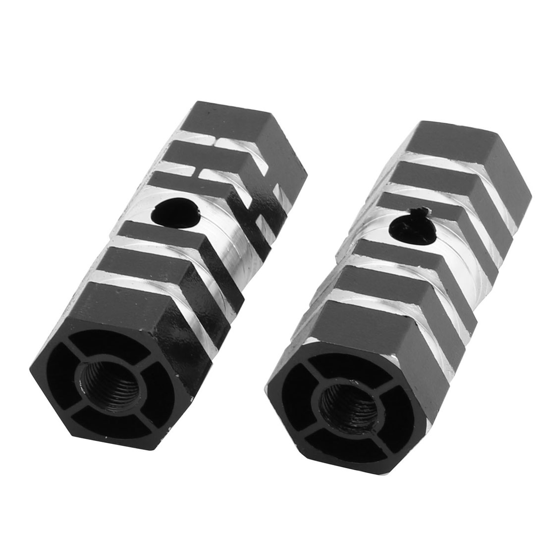 Pair 9mm Dia Female Thread Aluminum Alloy Foot Pegs Black for Bicycle Cycling