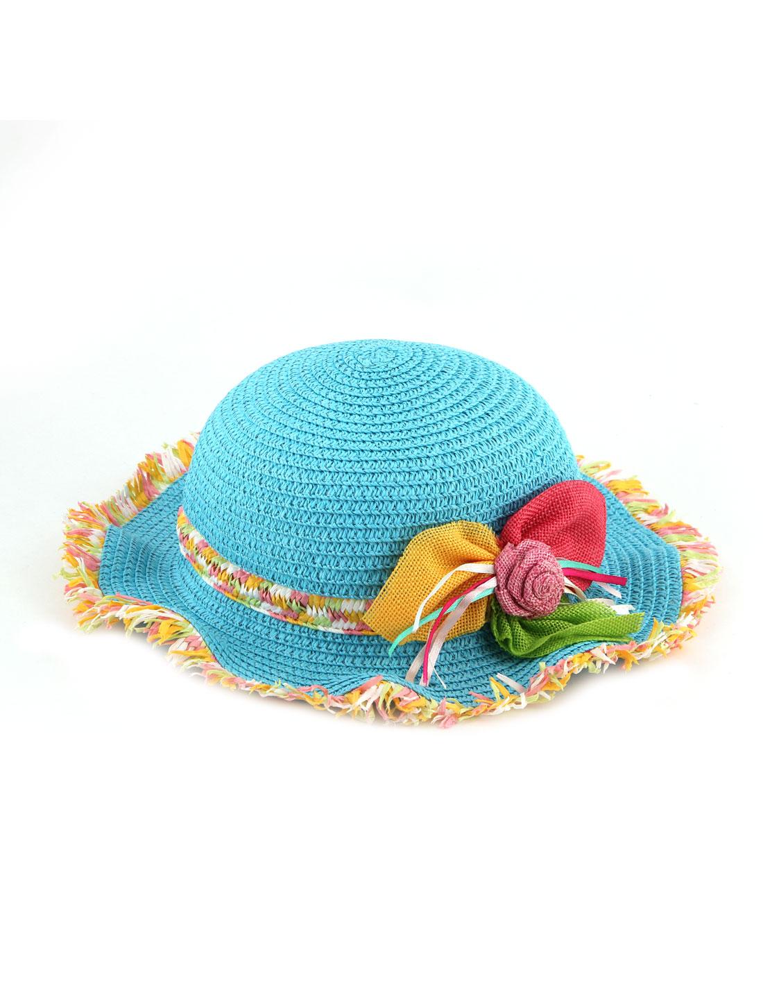 Lady Straw Braided Three Flowers Decor Rolled Brim Beach Sun Bucket Hat Blue