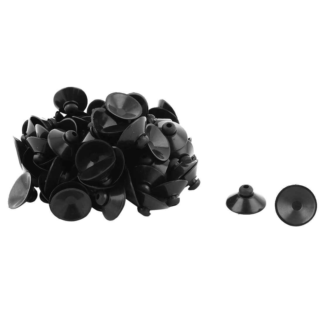 Household Rubber Round Window Glass Sucker Suction Cup Hanger Pads Black 90 Pcs